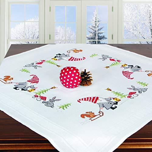 Stickpackung WICHTEL, komplettes vorgezeichnetes Kreuzstich Tischdecken Set, Winter Stickset mit Stickvorlage für Erwachsene, Sticken zur Adventszeit und Weihnachten