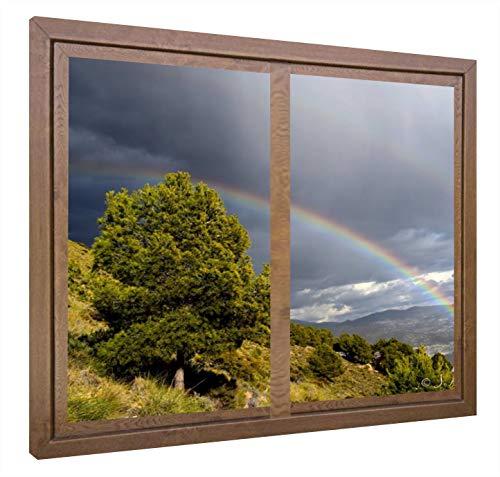 CCRETROILUMINADOS Arco Iris Cuadros Decorativos Ventanas Falsas Retroiluminadas, Metacrilato, Nogal, 60 x 80