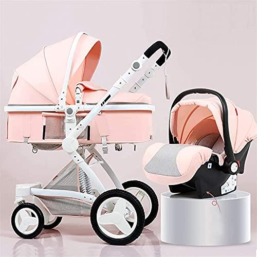 Maracos Baby stroller,Baby Stroller Travel System 3 in 1 Pram Stroller Buggy Baby Pushchair Reverse or Forward Facing Newborn Pram Stroller with Five-Point Harness Adjustable Backrest Hood (Color : Pi