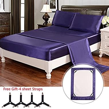 HollyHOME Silky Soft Luxury 4 Piece Deep Pocket Queen Satin Sheet Set, Free Fitted Sheet Straps Included, Purple