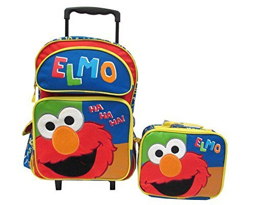 Seasame Street Elmo Large Rolling Backpack with Lunch Kit Set