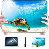 Laptop MacBook Pro Hawaiian Green Sea Turtle Cruising Warme Kunststoff Hard Shell Kompatible Mac Hülle MacBook Pro 13 Schutzzubehör für MacBook mit Mauspad