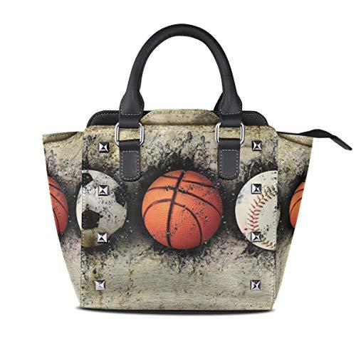 LUPINZ Handtasche mit Basketball-Motiv, in Ziegelmauer, lässiger Vintage-Stil, mit Tragegriff