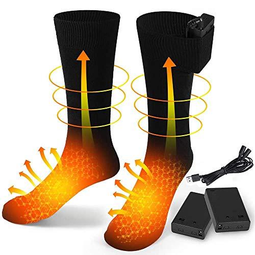 FLYEER USB Wiederaufladbare Elektrisch Beheizte Socken Akku Beheizte Socken für Männer und Frauen Kaltes Wetter Thermosocken für Sport Outdoor Camping Wandern Warme Wintersocken
