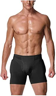 PAPIKOOL Sexy Men 4pcs Pads Enhancers Fake Ass Butt Lifter Shapers Control Panties Padded Underwear (Color : Black, Size :...
