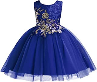 IBTOM CASTLE Little Big Girl Flower Lace Party Fall Baptism Dress Kids Short Evening Princess Dance Pageant Ball Gown