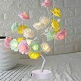 Lámpara de mesa de noche para dormitorio, color blanco, rosa, rosa, rosa, decoración del hogar, árbol de simulación, Navidad, decoración de fiesta de boda (color emisor: 01)