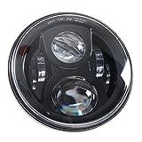 Faro per Moto LED Rotondo 7' 75 W Illuminazione a Giorno lampadina LED Lampada frontale Lampada in alluminio per Harley Davidson Moto Jeep Wrangler Nero