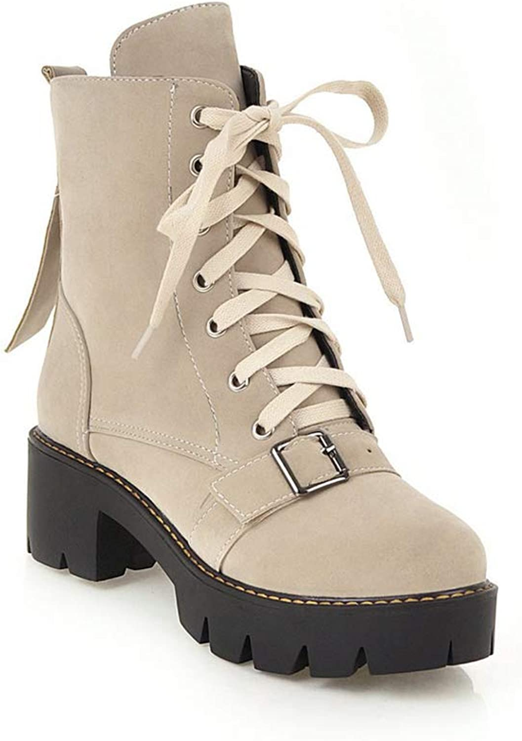 Btrada Women's Lace-up Martin Boots Round Head Square Heel Ankle Boots Wedges Non-Slip Combat Booties