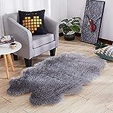 Alfombra de lana artificial, ultra suave, esponjosa, de lujo, duradera, de piel sintética, funda para silla, cojín para asiento, sala de estar, dormitorio, habitación para niños, decoración de oficina