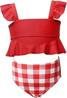Maydear Swimsuits for Girls Swimwear for Girls Bathing Suits for Toddler - Red