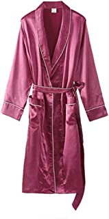 Ice Silk Long-Sleeved Nightgown, Female Summer Thin Silk Bathrobe, mid-Length Lapel lace-up Robe, Casual Home wear, Soft and Comfortable, Comfortable (Color : Red, Size : L)