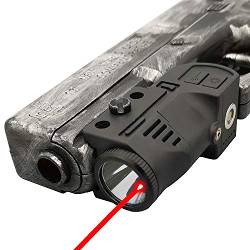 Laswin Tactical Flashlight with Internal Red Laser Sight for Handguns,2 in 1 Laser Light Combo,Magnetic Charging Flashlight Gun Laser Sight for Pistol,Glock,Rifles,Shotguns