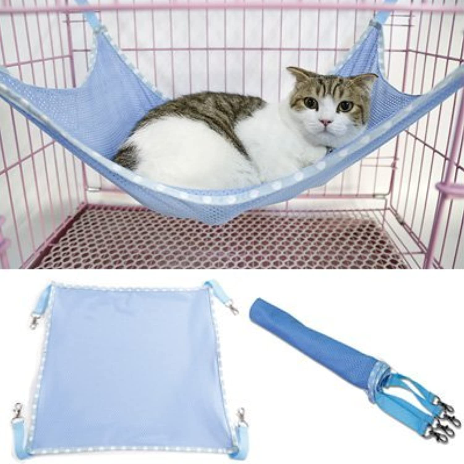 Fashion and Unique Cats Breathable Mesh Hammock Mat Bed Pet Cage Chair Hammock for Cats Small Dogs Rabbits Other Small Animals(bluee)