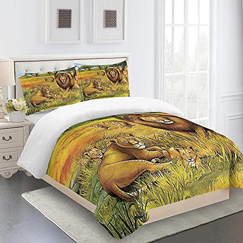 Juego de cama de 3 piezas, juego de cama con mapa de la selva y mapa de la familia de león de la selva, juego de cama de matrimonio