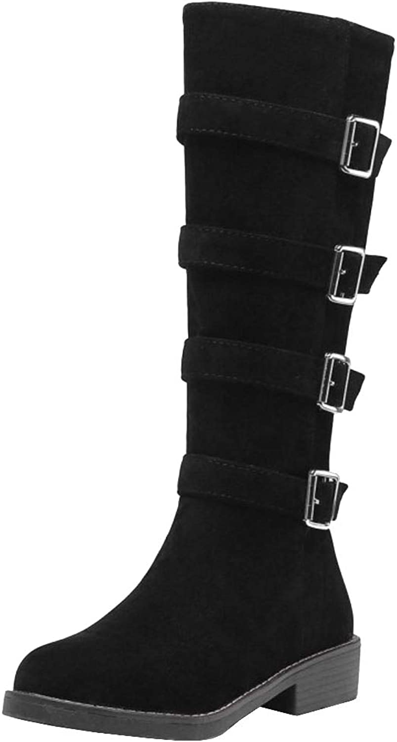 Melady Women Casual Low Heels Knee Boots Zipper