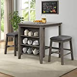 P PURLOVE 3 Piece Pub Set Wooden Counter Height Table Set with 2 Bar Stools Rustic Bar Table Set with Side Storage Shelf, Table and Bar Stools for Kitchen,Living Room, Dark Gray