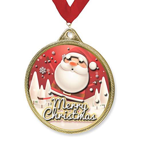 Trophy Monster Medalla de Navidad y cinta Combo de regalo o presentación | Hecho de metal con textura 3D | Oferta a granel 55 mm | (oro, plata o bronce) (oro)
