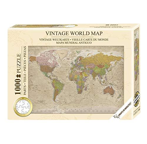 Close Up Weltkarte Vintage Puzzle 1000 Teile - Die Welt - 68 x 48 cm Premium Map 2020 - MAPS IN Minutes