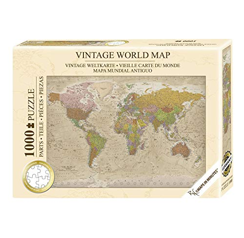 Close Up Weltkarte Vintage Puzzle 1000 Teile - Die Welt - 68 x 48 cm Premium Map 2020 - MAPS IN Minutes