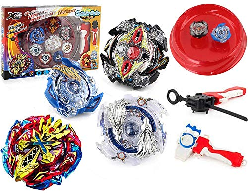 BIAONIU Bey Battle Blade Burst Turbo Evolution Metal Fusion High Performance Battling Top Set with 4D Launcher Grip and Arena Set Gyro Burst Evolution Attack Pack