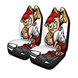 ngwanxinqu Car Seat Covers Mascot Fast Pitch Softball Girl Cartoon Player Bat Ball
