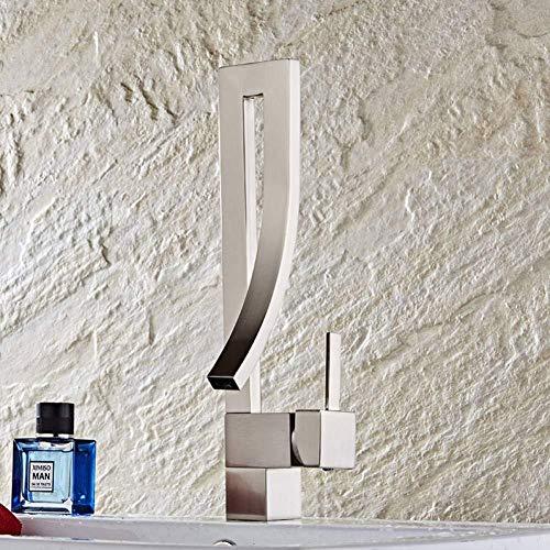 Grifo del lavabo del baño cepillo de níquel tratamiento de la superficie baño contemporáneo tratamiento de la superficie cromado fregadero de un solo orificio de latón con agua fría y caliente