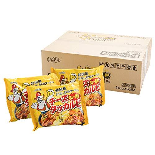 [ケース販売] paldo 韓国 汁なし炒め ヌードル チーズダッカルビ 140g×20袋/ やきそば 袋麺