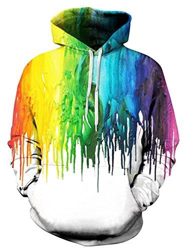 Idgreatim Herren Kapuzen Hoodie 3D Graffiti Gedruckt Drawstring Taschen Hoodie Plus Samt - Colorful 2, 2XL