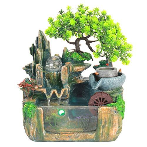 zcyg Fuente de decoración, fuente de mesa pequeña Rockery Waterwheel Contenedor de pescado interior Fengshui decoración