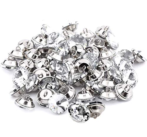 abcGoodefg 60PCS Rhinestone Crystal Buttons Clear Diamond Tufting Buttons Upholstery Buttons with Metal Loop Buttons for Sewing Sofa Bed Headboard DIY Crafts Decoration 25mm/1 inch