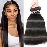 Nadula Hair Young Series Peruvian Straight Hair Weaves 3 Bundles, 7A Grade 100% Unprocessed Peruvian Virgin Human Hair Extensions Natural Color (20 22 24inch)