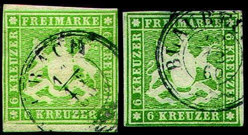 Goldhahn Württemberg Nr. 13a+b gestempelt Briefmarken für Sammler
