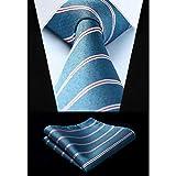 CDBGPZLD Seda Corbata Set Tejido clásico corbata pecera rayas rojas 3.4'corbata de seda fiesta boda pañuelo conjunto