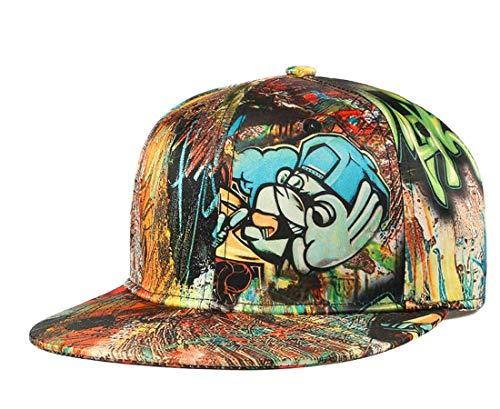 Graffiti Snapback Dad Hat, Unisex Cartoon Flat Bill Baseball Cap,Ok Hand Letter Anime Printed Hip Hop Boys Girls Hats