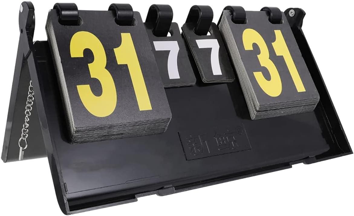 GHqY Anotador De Escritorio, 4 Dígitos Marcador Aleta, Portátil Easy Flip ABS Impermeable Marcador De Puntuación Marcador para Tenis De Mesa Fútbol Baloncesto Bádminton, Negro