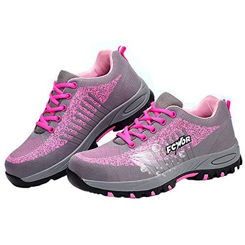 shoes Zapatos de Trabajo de Damas, Botas de Seguridad Antideslizantes Respirables Anti-punción Zapatos con Punta de Acero, Adecuado para Entrenamiento al Aire Libre/montañismo (34-40)