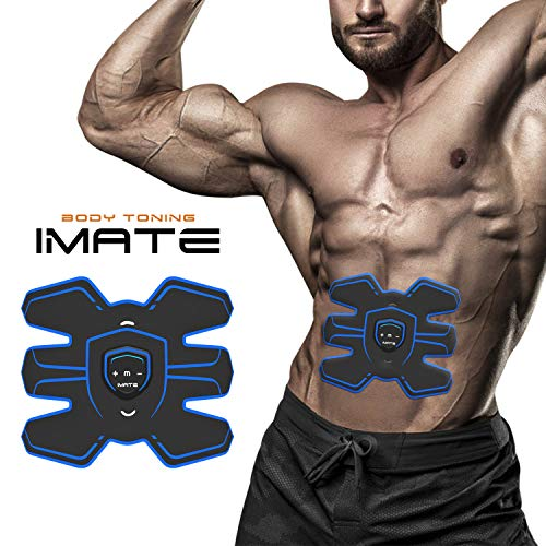 IMATE EMS Electrical Muscle Stimulation ABS Trainer Trainer Belt Machine Portable Fitness Training Gear for Abdomen/Arm/Leg Home Office Exercise Workout Equipment Unisex