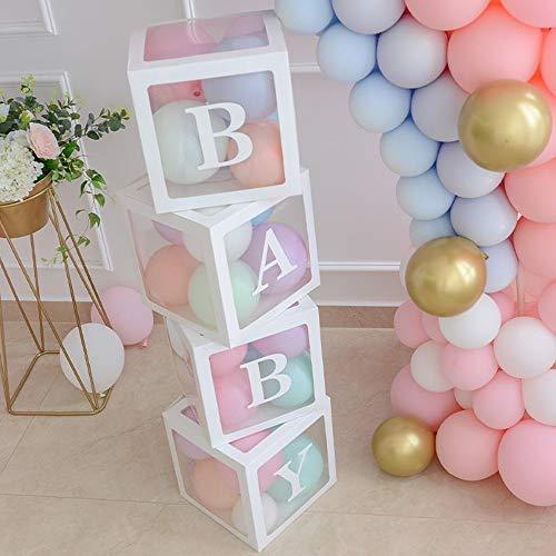 ALITREND Cajas de fiesta de baby shower, 4 unidades, cajas de globos transparentes, decoración de bloques de bebé con letra para revelar el género, fiesta de niños y niñas (blanco)