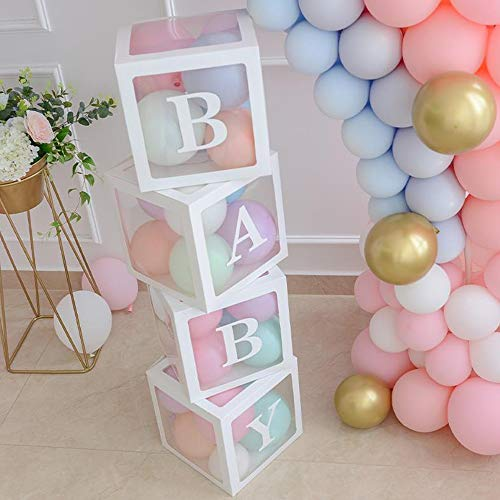 ALITREND 4PCS Baby Boxen Party Dekoration for Baby Shower, Transparente Luftballon Boxen Baby Block Dekoration mit Buchstaben für Geschlecht enthüllen Partyjungen Mädchen, (Weiß)