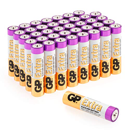 GP Extra Alkaline Batterien AAA Micro 40 Stück Vorratspack, ideal für die Stromversorgung von Geräten des täglichen Bedarfs (Briefkasten-geeignete Verpackung)