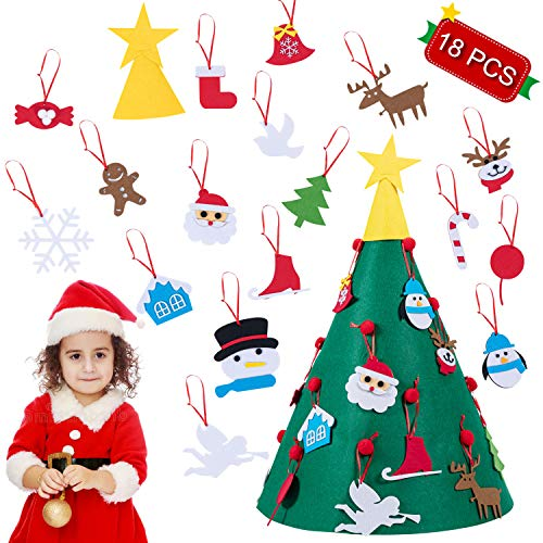 JYW 3D DIY Felt Christmas Tree with 18 Pcs Detachable Hanging Ornaments, Xmas Gifts for Kids Toddlers Christmas Holiday Home Decorations, 2 Ft