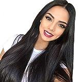 ZiQE 26'peluca llena sintética larga negra natural larga para la fiesta o el uso diario del traje de Cosplay de las mujeres