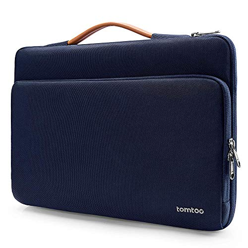 "tomtoc 14 Inch Protective Laptop Sleeve Handle Bag for 14"" Lenovo Thinkpad X1, 15"" MacBook Pro Touch Bar A1990 A1707, Shockproof Notebook Sleeve Travel Briefcase Bag, Dark Blue"
