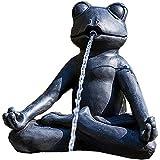 Heissner Teichfigur Yoga-Frosch im Schneidersitz meditierend