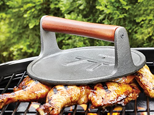 Outset Cast Iron, 8 x 8 x 3.25 inches, Round Grill Press