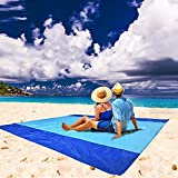 Brillirare Sandfree Beach Blanket, 85x110 Oversized Waterproof Sandproof Picnic Blanket for 8-10 Adults, Quick Drying Lightweight Family Mat with 4 Stakes&4 Corner Pockets for Travel, Camping, Hiking