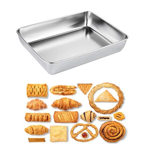 LIQUID Backblech, Rechteckiges Backgeschirr aus Edelstahl Backform, Baking Tray, Robust und leicht zu reinigen, für Geschirrspüler geeignet, ohne chemische Beschichtung, 30 * 35cm