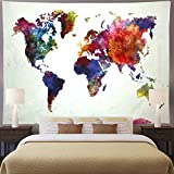 Ameyahud World Map Tapestry Watercolor World Tapestry Abstract Map Tapestry Colorful Painting World Tapestry Wall Hanging for Bedroom Dorm Decor