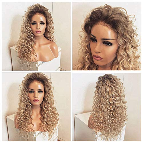 Long Blonde Kinky Curly Lace Front Wig 180 Density Heat Resistant Blonde hair Ombre Synthetic Wigs For Women